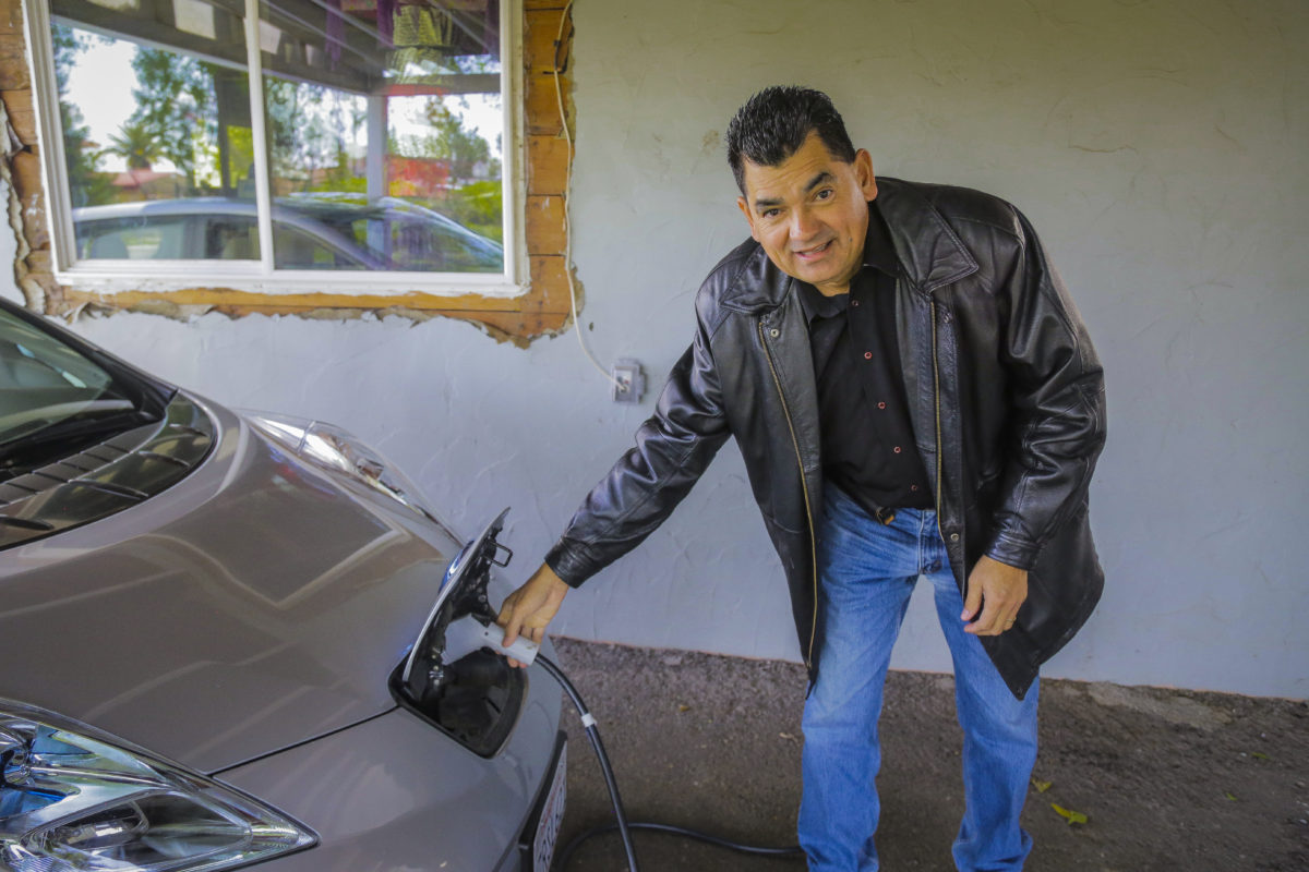 Charging Efrain's electric vehicle is easy now that he has a home charger.